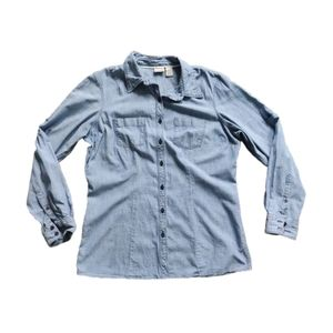 L.L. Bean Cotton Chambray Long Sleeve Button Top M
